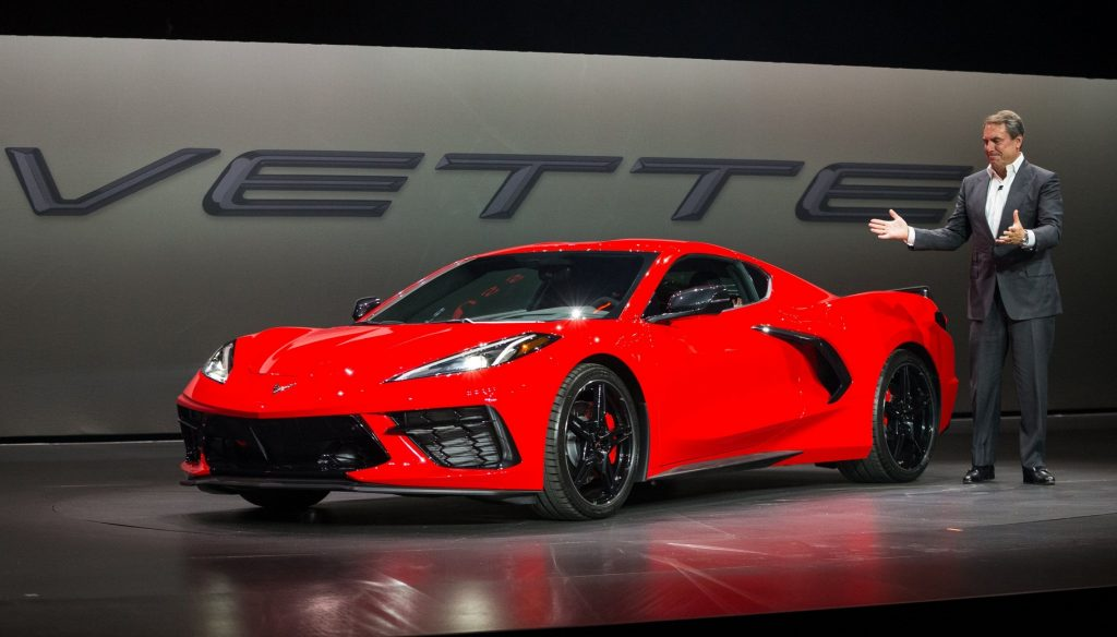 General Motors President Mark Reuss drives the 2020 Chevrolet Corvette Stingray onto the stage during its unveiling Thursday, July 18, 2019 in Tustin, California. The 2020 Stingray, the brand's first-ever production mid-engine Corvette, features a new 6.2L Small Block V-8 LT2 engine producing 495 horsepower and 470 lb-ft of torque when equipped with performance exhaust. The 2020 Chevrolet Corvette Stingray goes into production in late 2019 and will start under $60,000. (Photo by Dan MacMedan for Chevrolet)