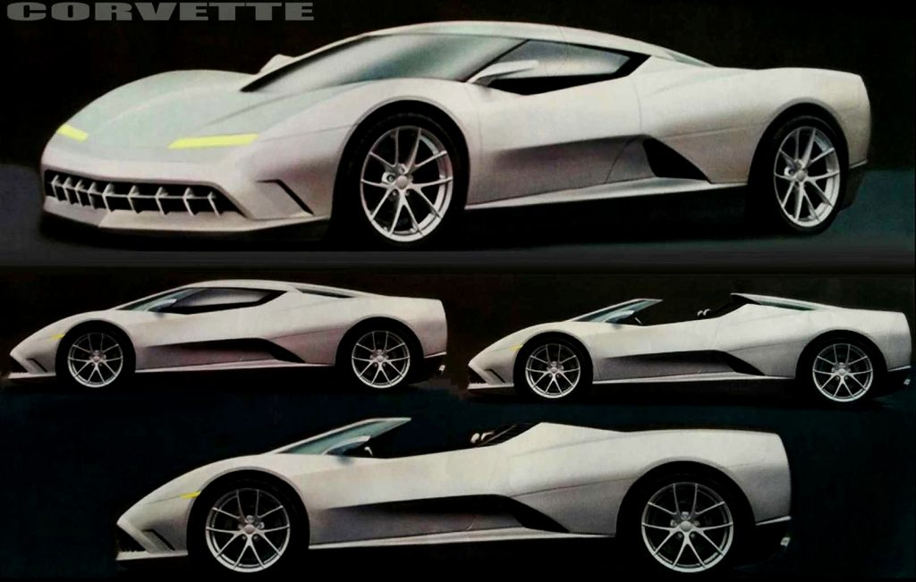 Early design sketches of the mid-engine Corvette.