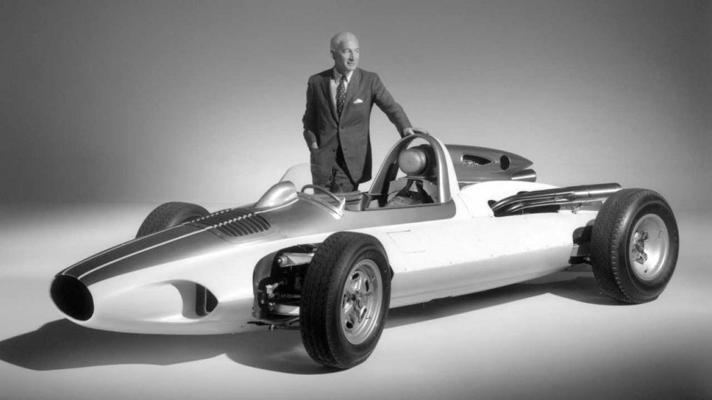 Zora Arkus-Duntov stands beside the CERV I, considered by many as the earliest mid-engine Corvette prototype. Duntov did not live to see the mid-engine Corvette become a reality, but his vision fueled its evolution for nearly sixty years!