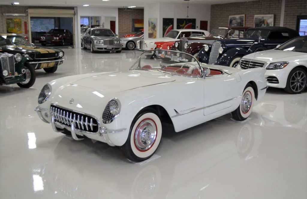 The car's Polo White exterior and Sportsman Red interior are exact matches to the original color used on the first-generation Corvette.