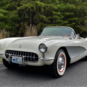 This 1957 Corvette features 15-inch painted steel wheels wrapped in Coker Classic whitewall tires.