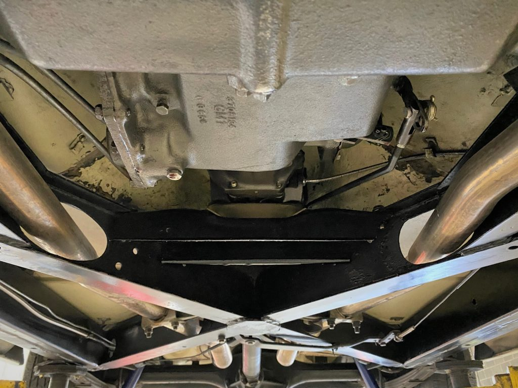 It is worth noting the overall condition of this Corvette's undercarriage, which is free of rust and dirt.