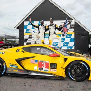 Antonio Garcia and Jordan Taylor celebrate their victory at the Virginia International Raceway!