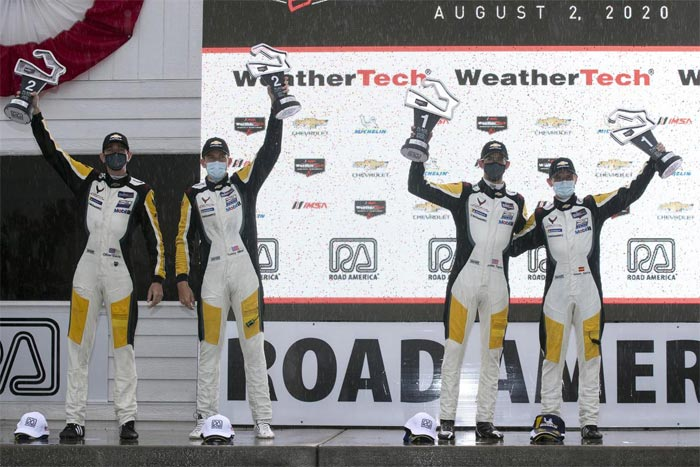 Jordan Taylor and Antonio Garcia (right) and Oliver Gavin and Tommy Milner (left) take 1st and 2nd place in GTLM at Road America on August 2, 2020.