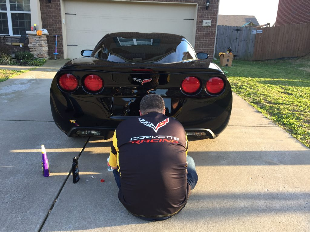 Me detailing my Corvette - and no, I don't always wear my C7.R Corvette Racing gear when I clean my car!