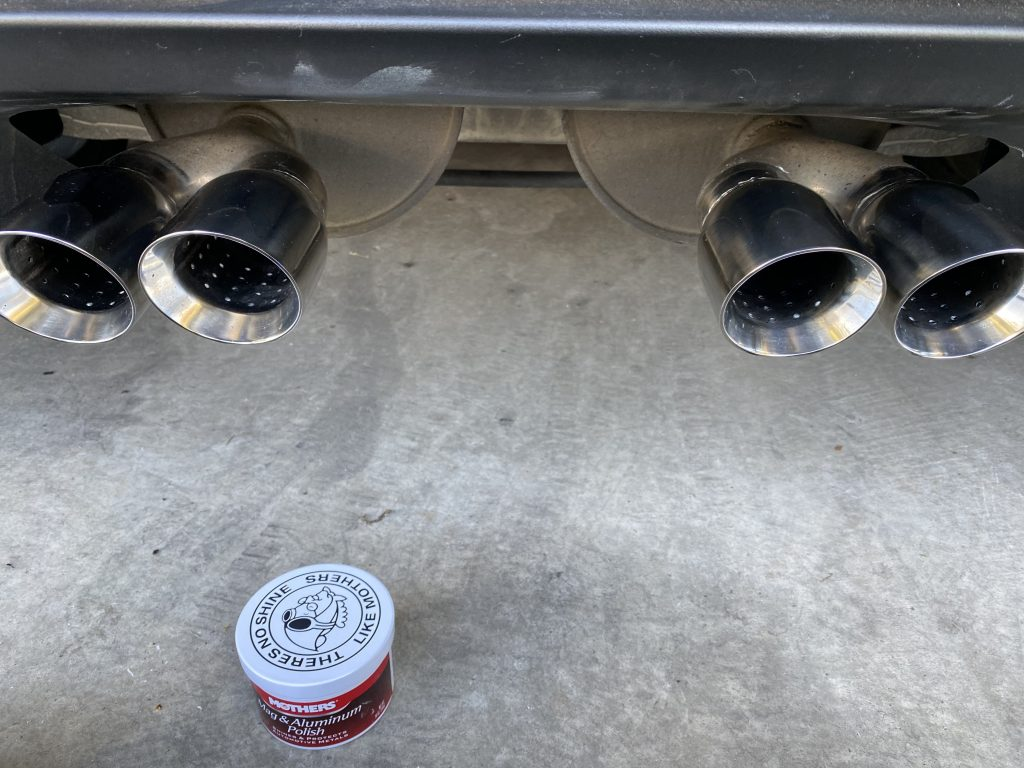 The newly polished exhaust tips on my 2013 Corvette.