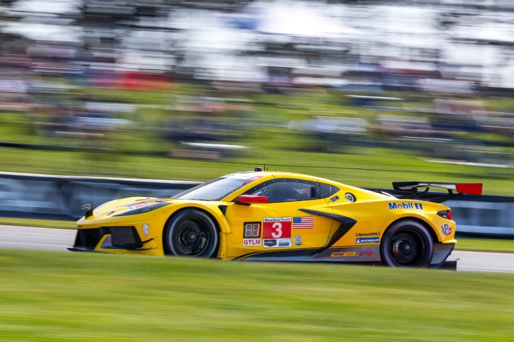 The #3 Mobil 1/SiriusXM Chevrolet Corvette C8.R driven by Antonio Garcia and Jordan Taylor races to victory Sunday, September 27, 2020 winning the GTLM class of the IMSA WeatherTech SportsCar Championship's Acura Sports Car Challenge at Mid-Ohio Sports Car Course in Lexington, Ohio. (Photo by Richard Prince for Chevy Racing)