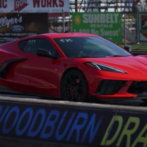 2020 Corvette at drag strip