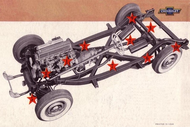 The frame and chassis of the 1953-1962 Corvette featured boxed side members with a central X-member.