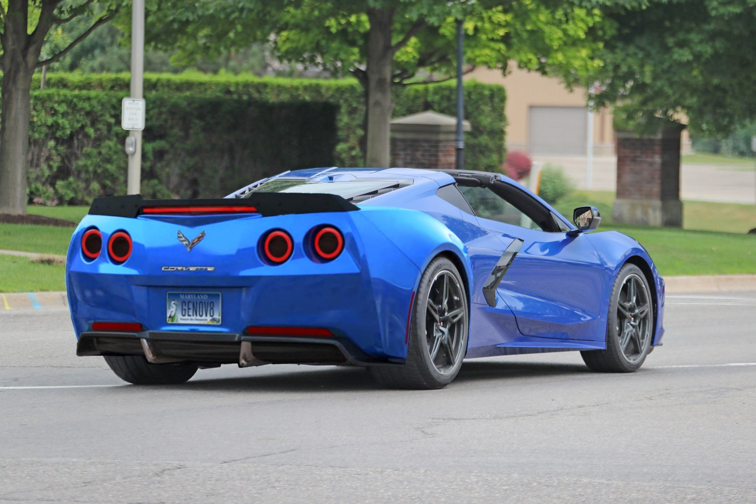 C8 Corvette rendering with round taillights