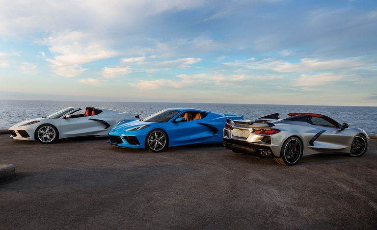 3 C8 corvettes by the sea side
