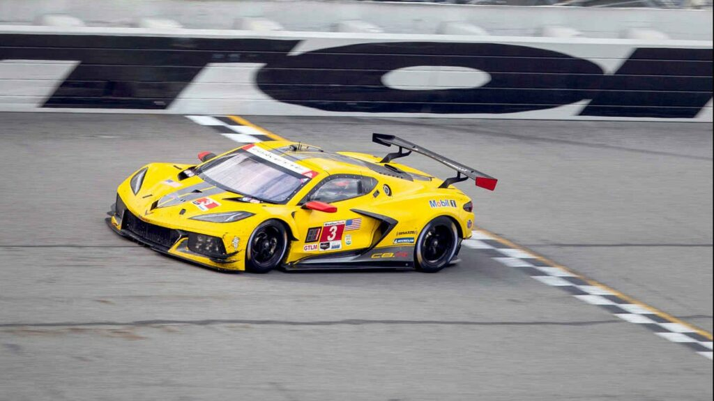 The No. 3 Corvette of Jordan Taylor and Antonio Garcia finishes first in GTLM class at the Rolex 24.
