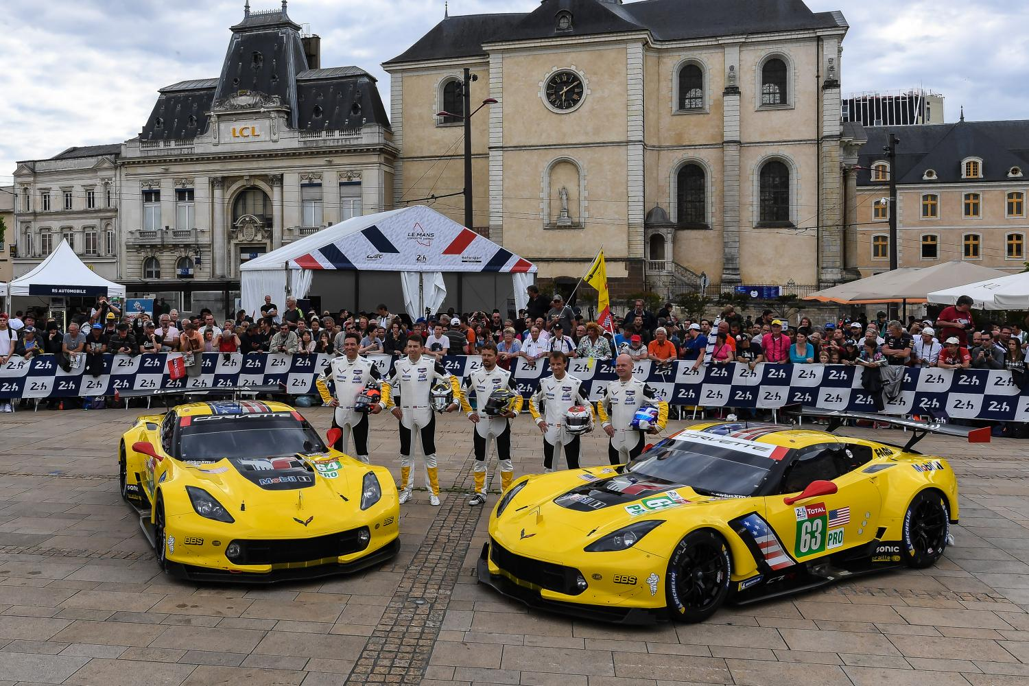 The 2019 Corvette Racing Teams in Le Mans, France. This race marks the last time Corvette Racing competed at the 24 hour event.
