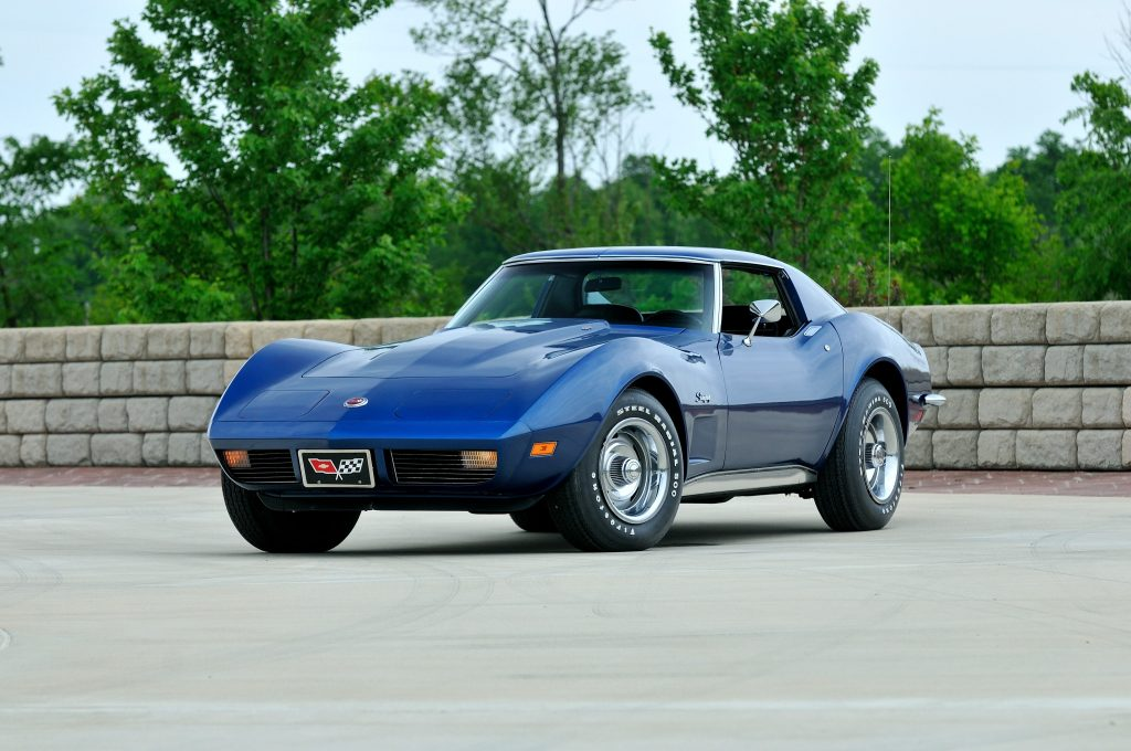 Blue 1973 Corvette with LS4 engine