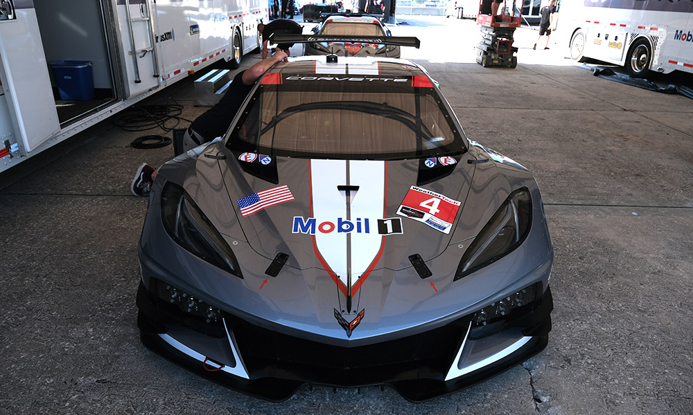 The No. 4 Mobil 1/SiriusXM Corvette C8.R in its new Mobil1 Livery.