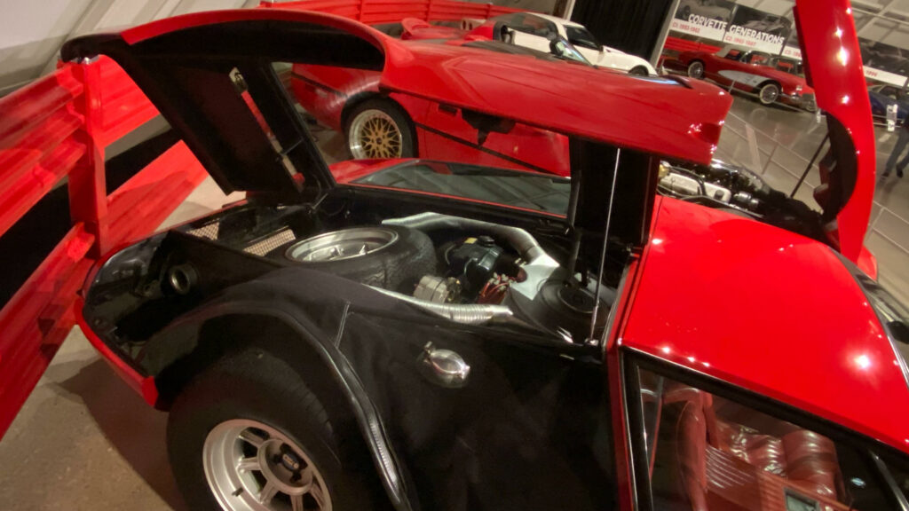 Bill Mitchell's 1969 De Tomaso Mangusta equipped with the Chevy 350 V8 engine.