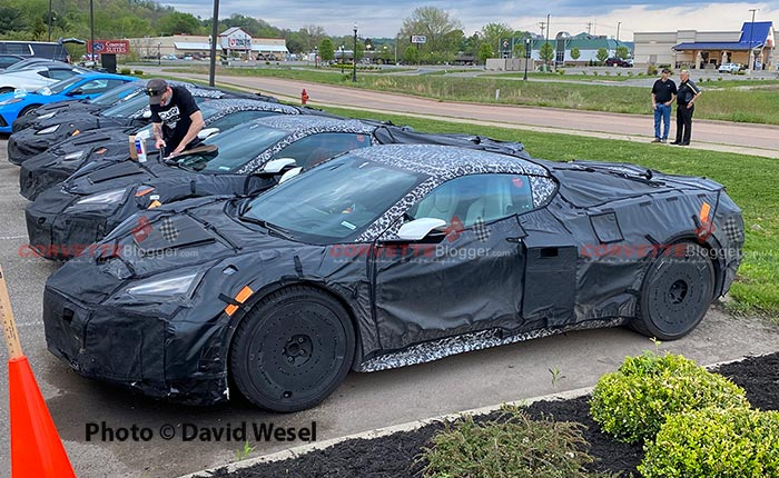 A carefully camouflaged 2022 Corvette Z06 awaits its day of testing.