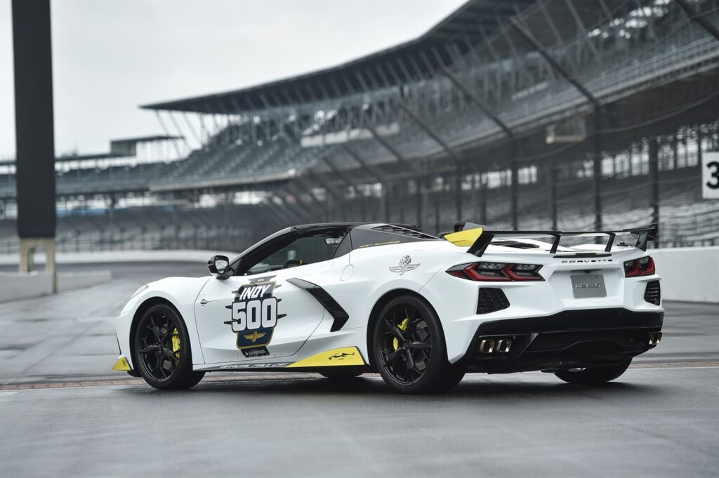 The 2021 Mid-Engine Corvette Stingray Hardtop Convertible will serve as the pace car of the 105th running of the Indianapolis 500.