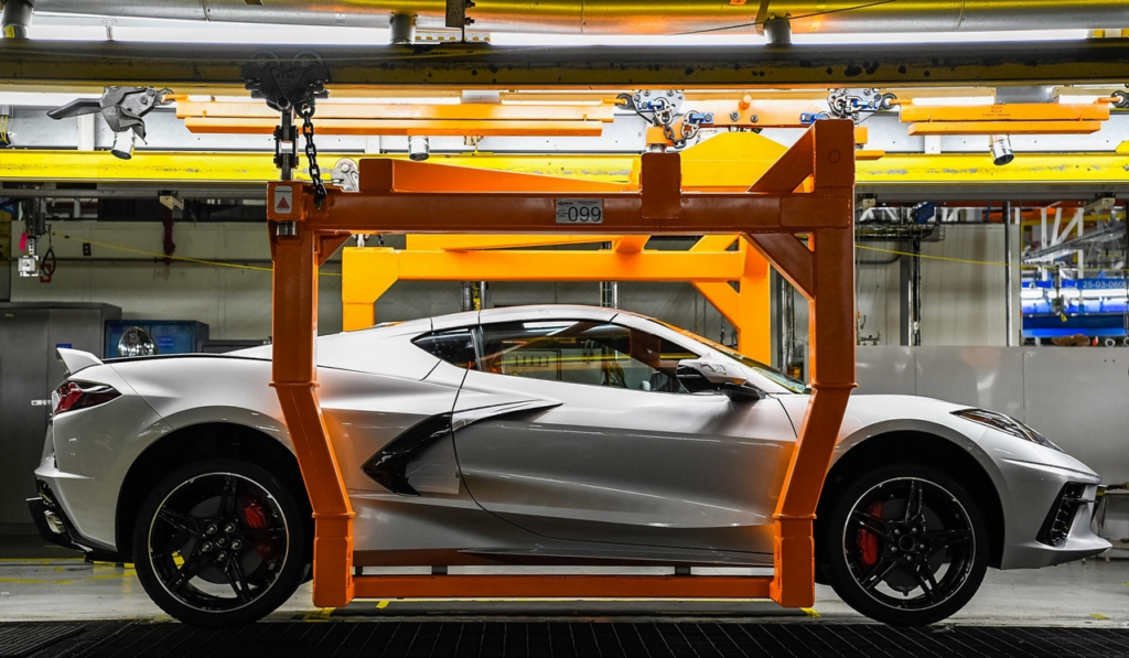 The 2021 Corvette travels down the assembly line of GM's Bowling Green Manufacturing Plant.