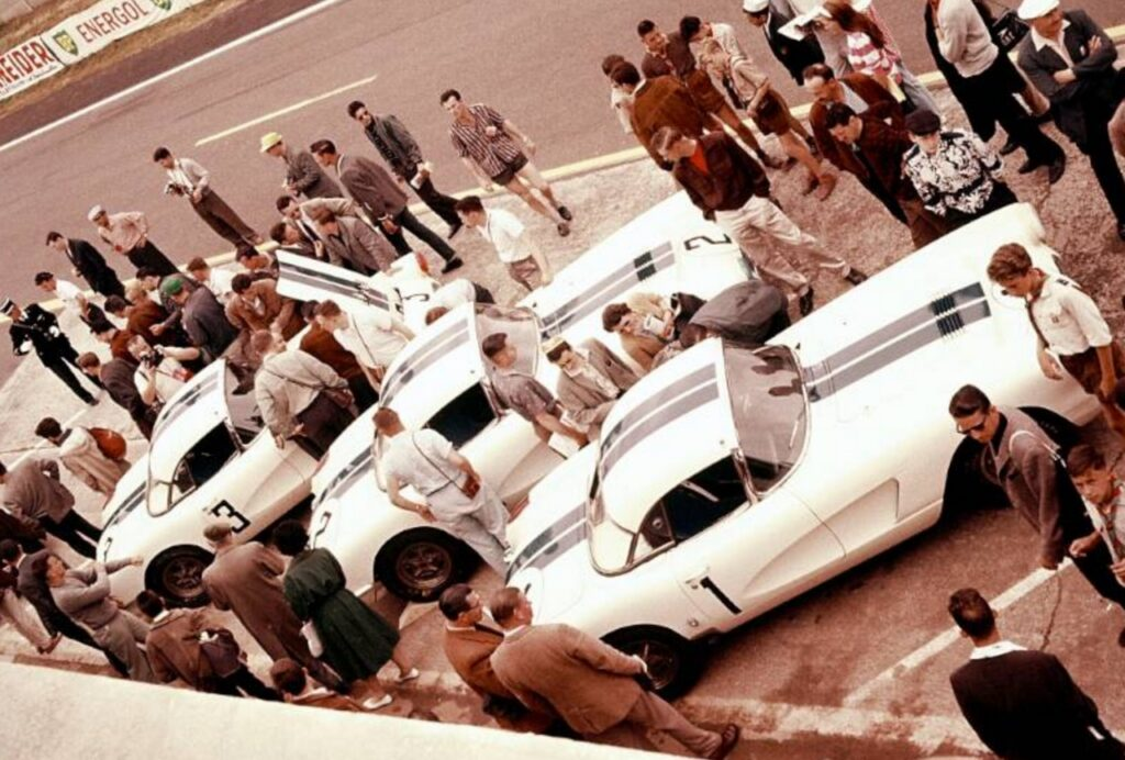 The original 1960 Le Mans Racers lined up on the start/finish line in Le Mans, France.