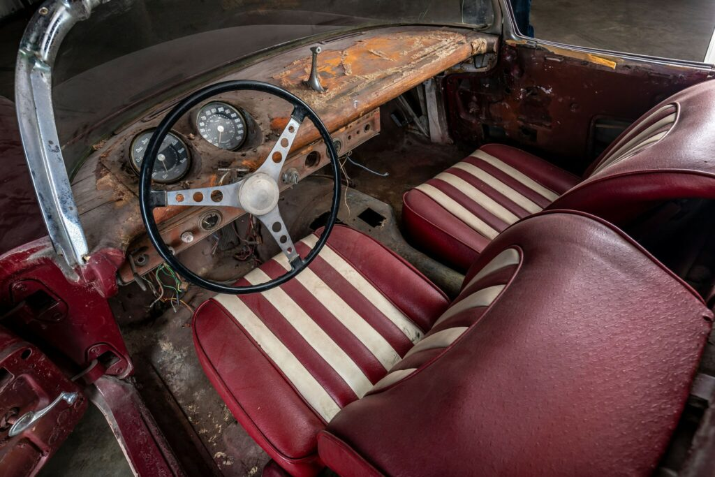 The modified interior of the 1960 Le Mans Corvette - clearly in need of much restoration.