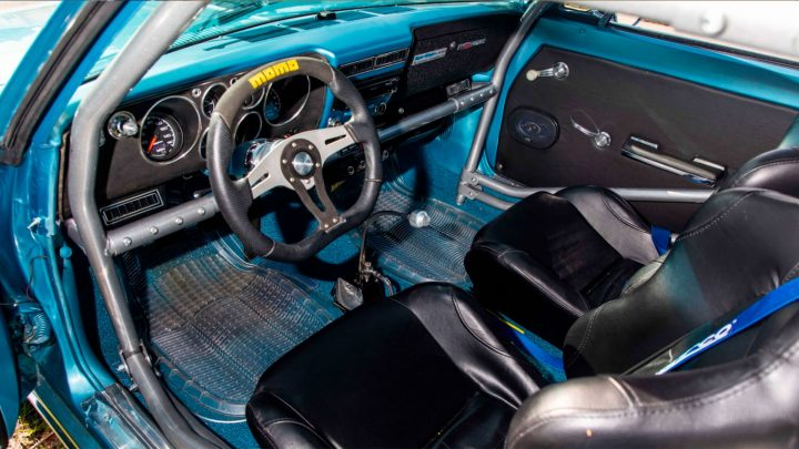 For a purpose-built racer, this 1965 Corvair's interior is well appointed, even if the majority of its drivetime will be on a 1/4 mile track.