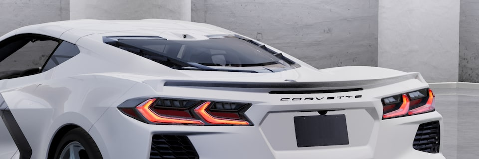 A view of the new 2022 Corvette low-profile spoiler