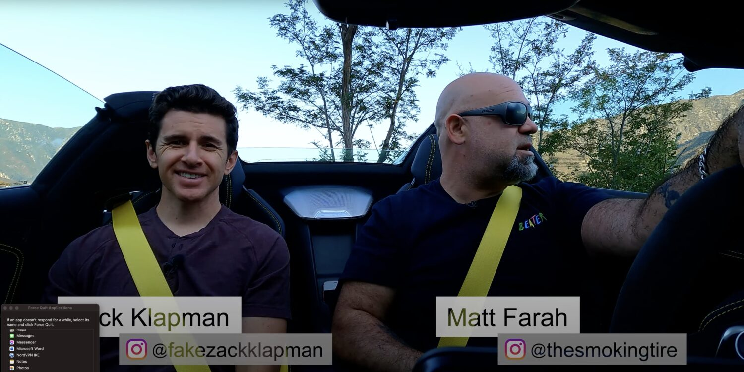 a view of Zack Kaplan and Matt Farah trying out the 2021 C8 Stingray Corvette 3LT