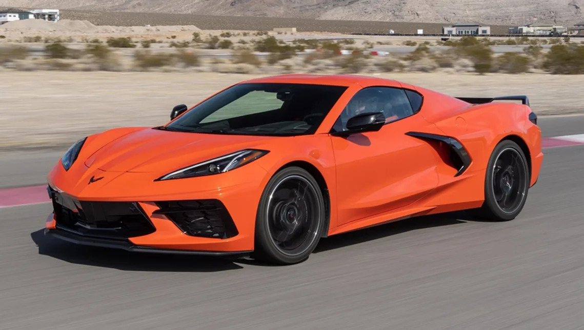 A view of one of the three colours available for the 2022 Chevrolet Corvette Stingray: a color called Amplify Orange