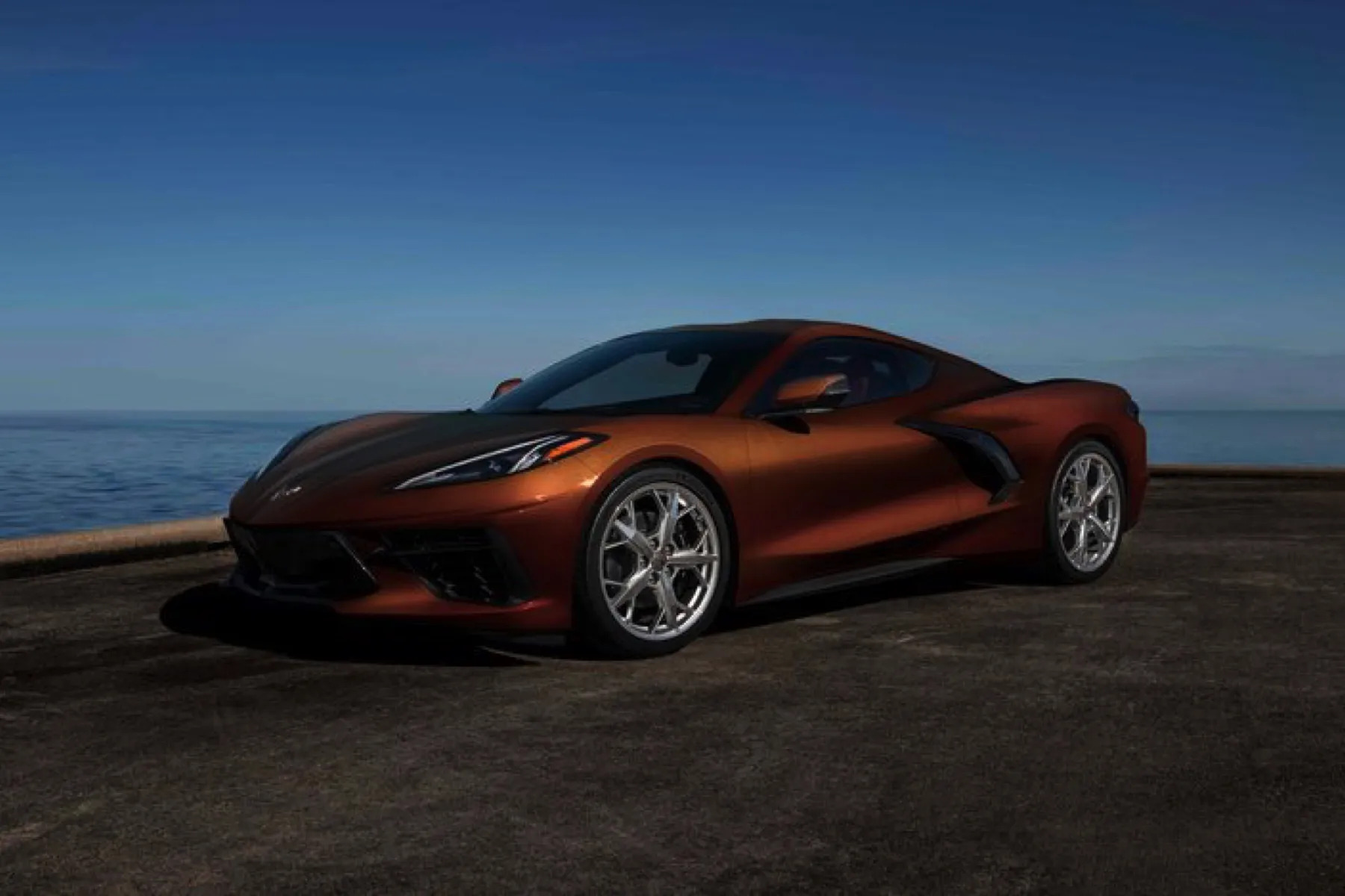 A view of one of the three colours available for the 2022 Chevrolet Corvette Stingray: a color called Caffeine