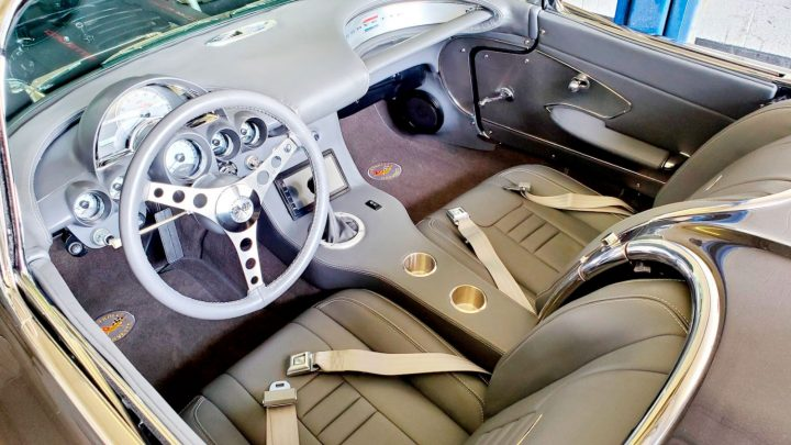 The interior of this 1961 Corvette Restomod is the perfect fusion of old and new.