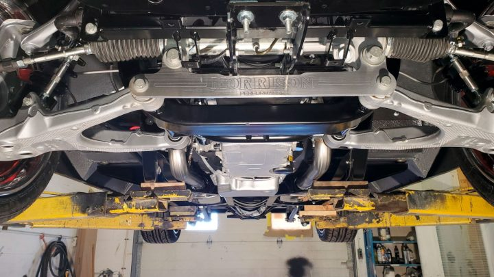 Meticulously clean and beautifully appointed undercarriage.