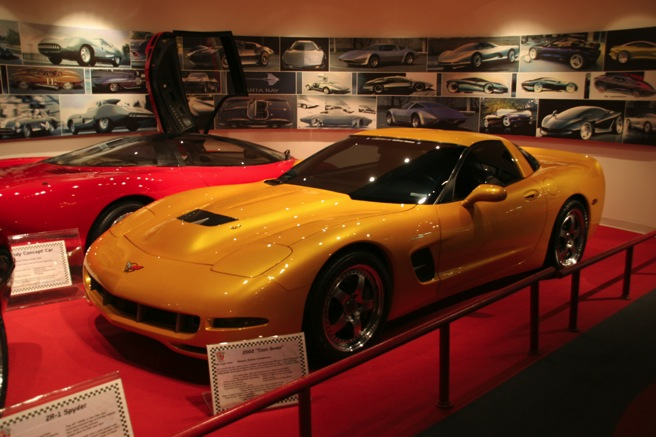 The 2001 Tiger Shark Corvette Concept on display at the National Corvette Museum in Bowling Green, Kentucky.