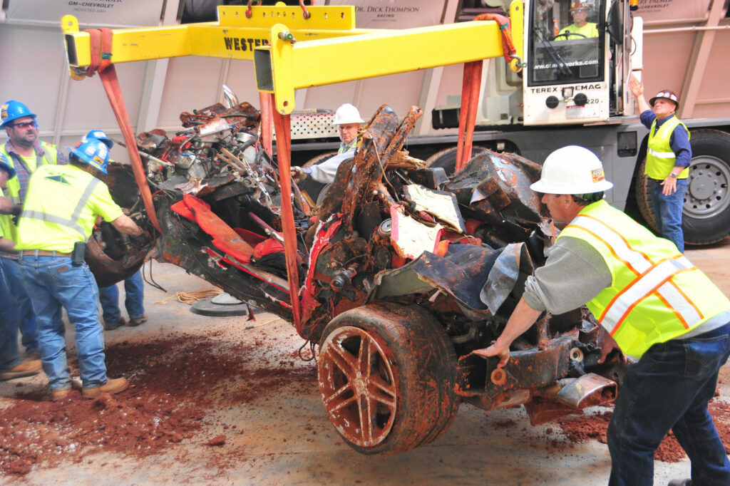 Mallett Corvette after being removed from the sinkhole in 2014.