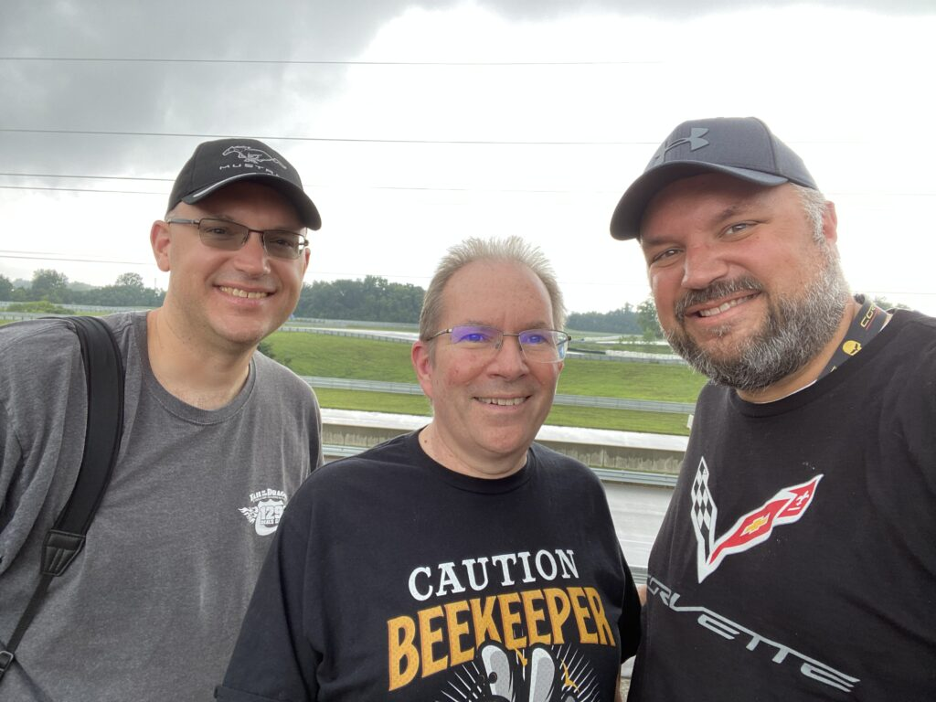 Joe Kolecki (left), Cliff Wanner (center), and I wait out the rain at the NCM Motorsports Park. It was definitely worth the wait.