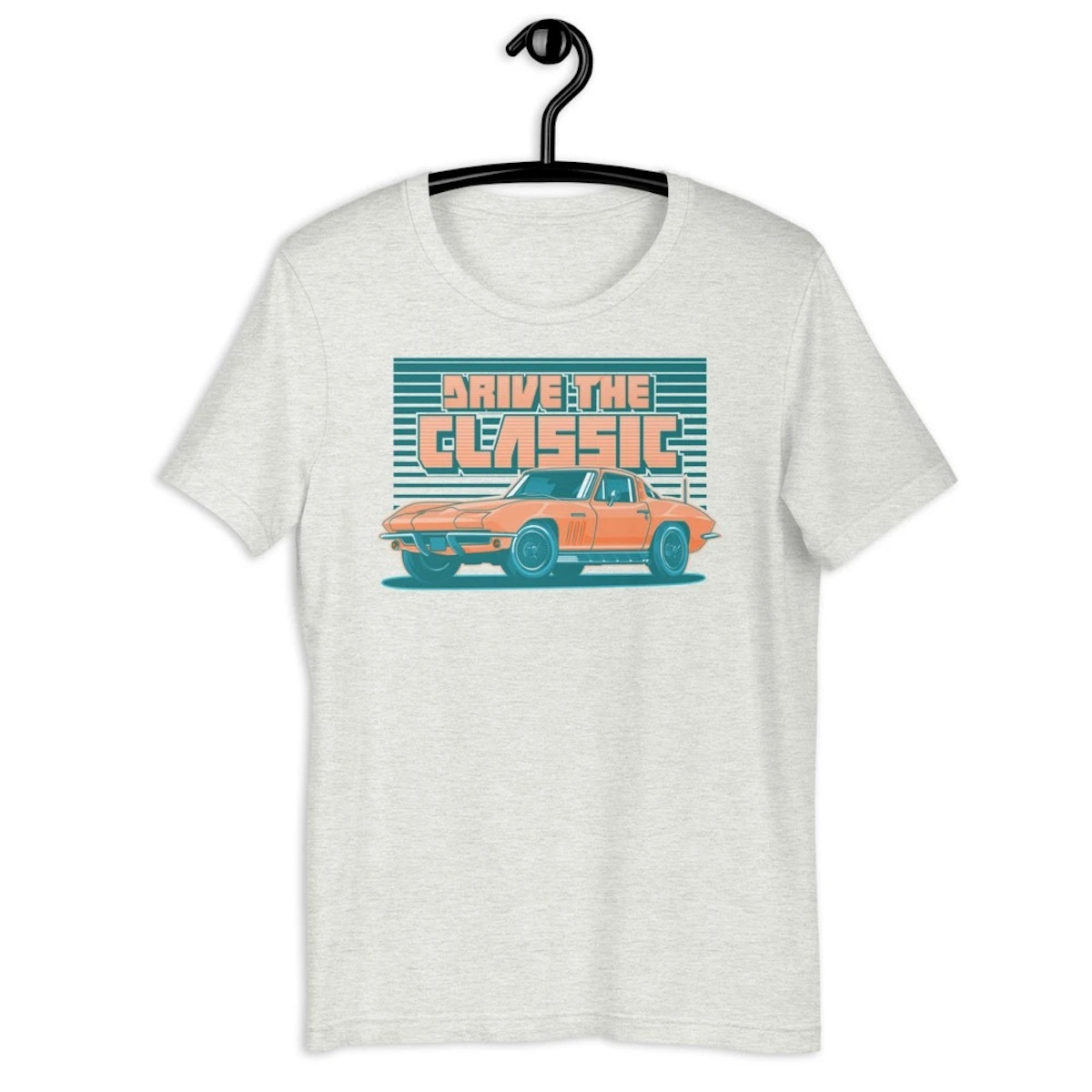 """The 1963 C2 Corvette """"Drive the Classic"""" shirt, available on 100MPH for $29.95 USD"""