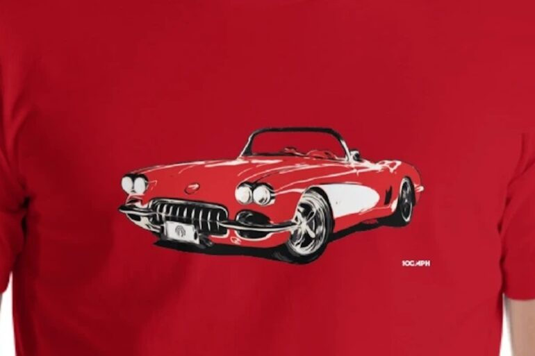 The 62 Corvette C1 shirt, available on 100MPH for $29.95 USD