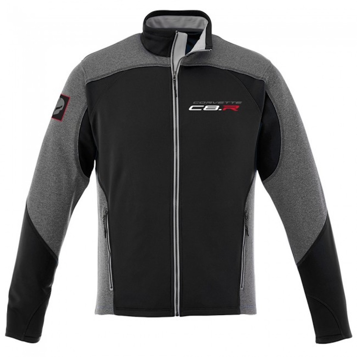 """A view of a Corvette Racing C8.R Two-Tone """"Jake"""" Jacket, available for $85.00 USD from the Official Corvette Racing Store"""