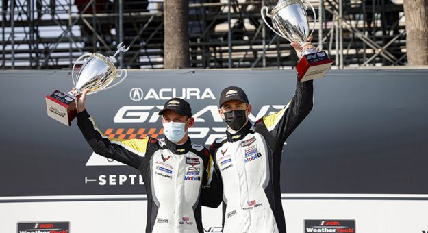 Nick Tandy (left) and Tommy Milner win in GTLM at the 2021 Acura Grand Prix at Long Beach!