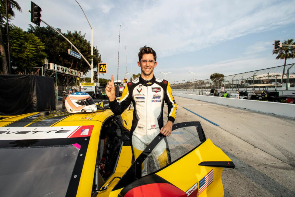 Jordan Taylor put down the fastest time in GTLM during qualifying at Long Beach. He and teammate Anthony Garcia came in second by a 0.75 difference behind teammates Tandy and Milner.