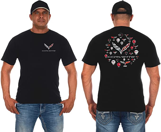 Front and back view of a corvette T-shirt