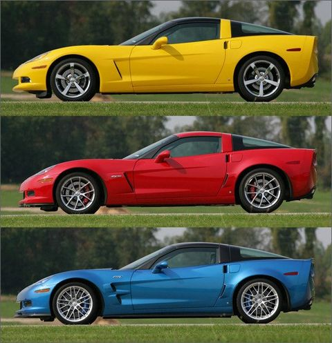 The 2009 Corvette coupe (top) was rated at a respectable 430 horsepower, the Z06 (middle) produced 505 horsepower, while the ZR1 (bottom) produced a blistering 638HP. While price was certainly affected by horsepower, it didn't sway consumers from going middle-or-top end when buying a new Corvette!