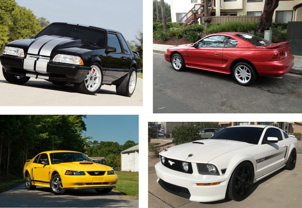 If nothing else, the Mustang demonstrates how cars evolve to remain relevant. Here we see a 1992 (top left), a 1996 (top right), a 2004 (bottom left) and a 2008 (bottom right). In less than twenty years time, the Mustang evolved dramatically...and continues to do so today, yet it remains one of the most popular pony cars of all time despite its dramatic re-imaginings throughout its colorful history.