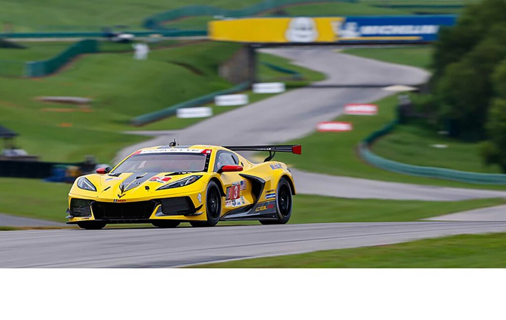 The No. 3 Mobil 1/SiriusXM Chevrolet Corvette C8.R, driven by Jordan Taylor and Antonio Garcia, secure a second place finish just behind the No. 4 Corvette.