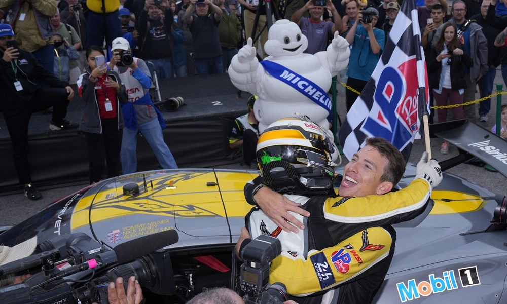 Tommy Milner climbs out of the No. 4 Mobil 1/SiriusXM Chevrolet Corvette C8.R after his GTLM class win at VIR.